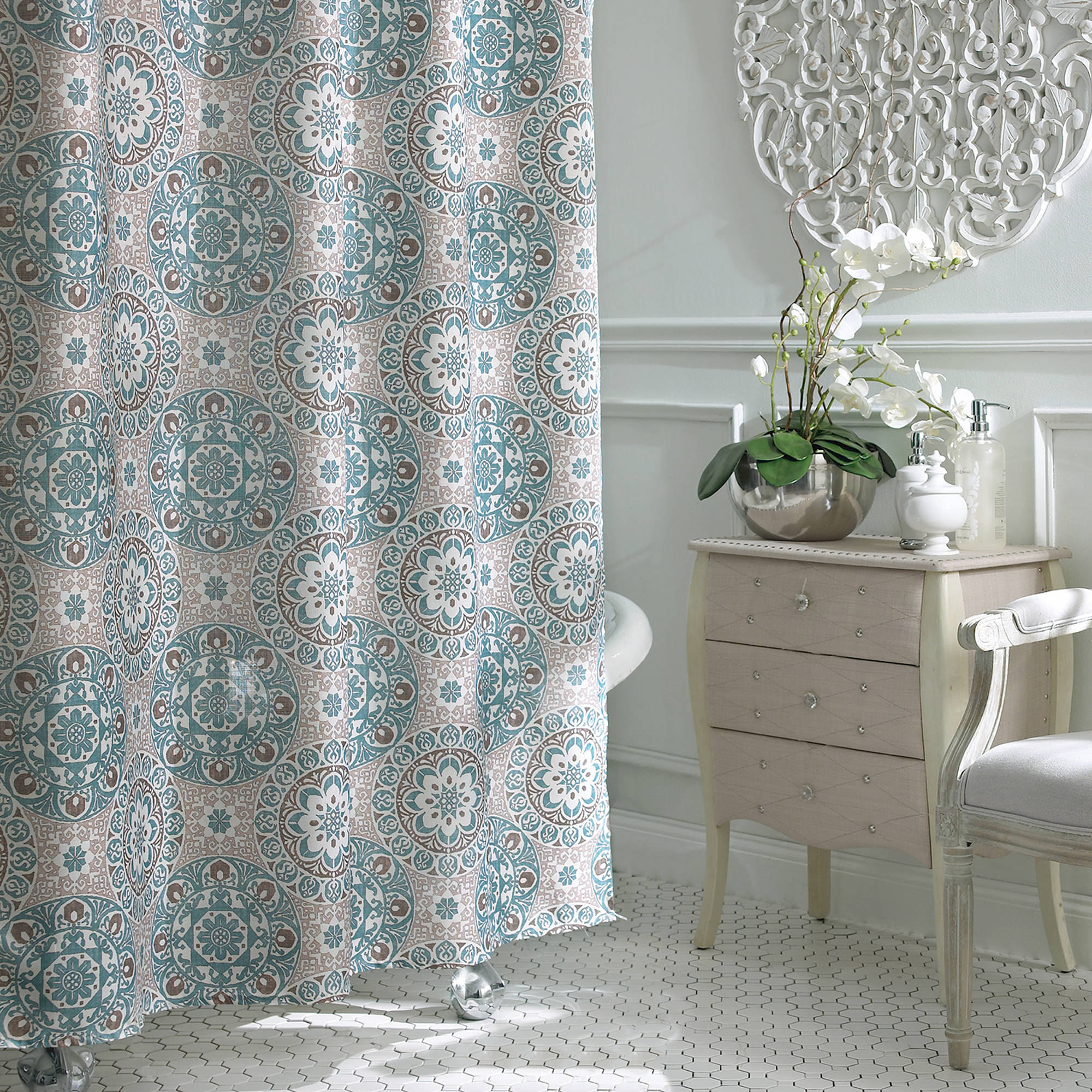 Excell Carthe Fabric Shower Curtain Walmart for size 2000 X 2000