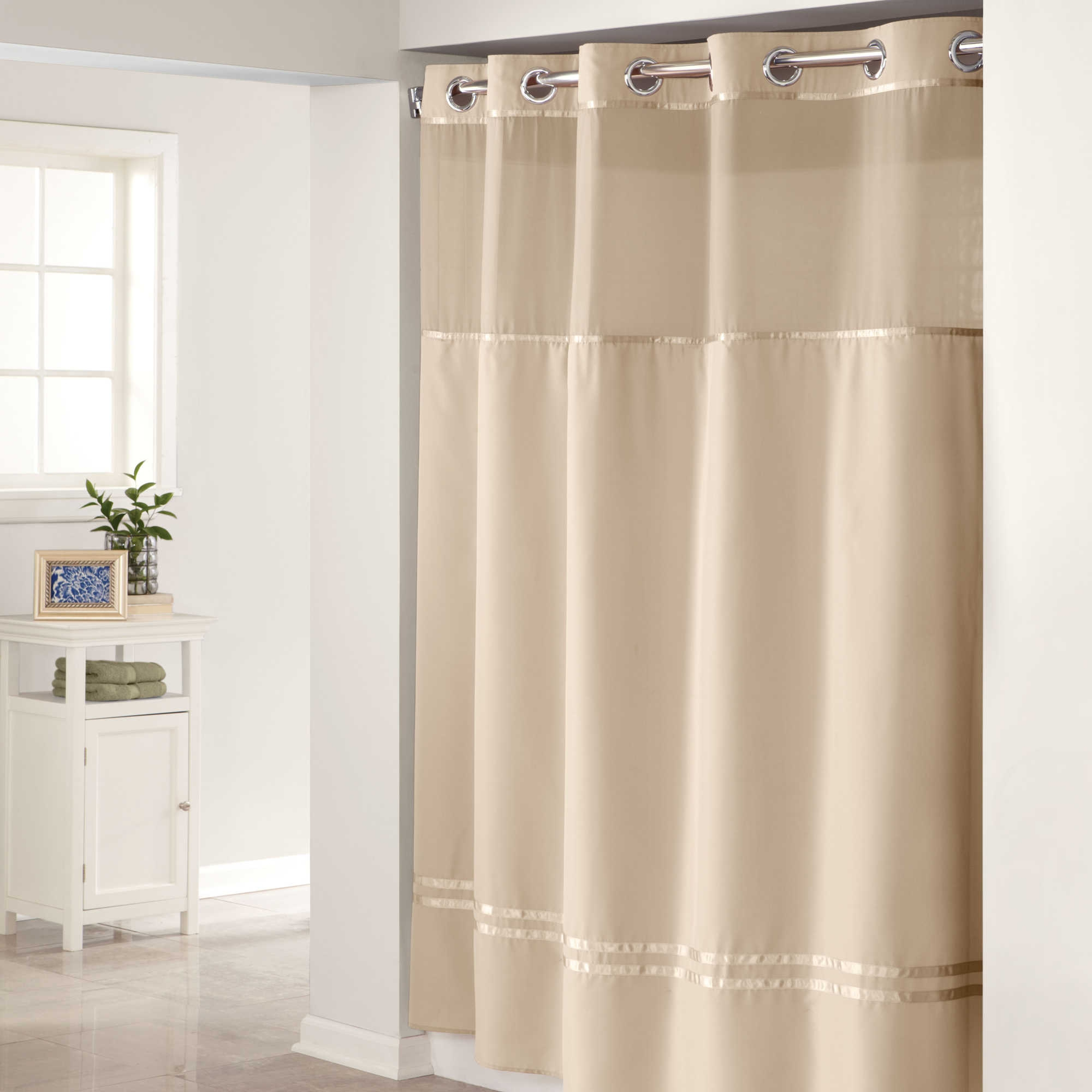 Green Hookless Shower Curtain With Window Curtain Rods And within proportions 2000 X 2000