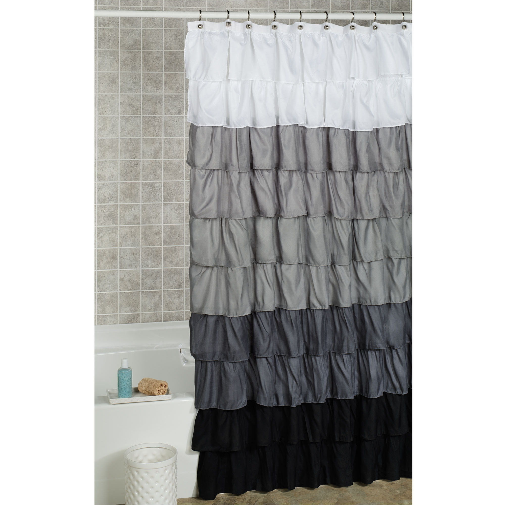 Beautiful Gray And Yellow Ruffle Shower Curtain • Shower Curtains Ideas BC09