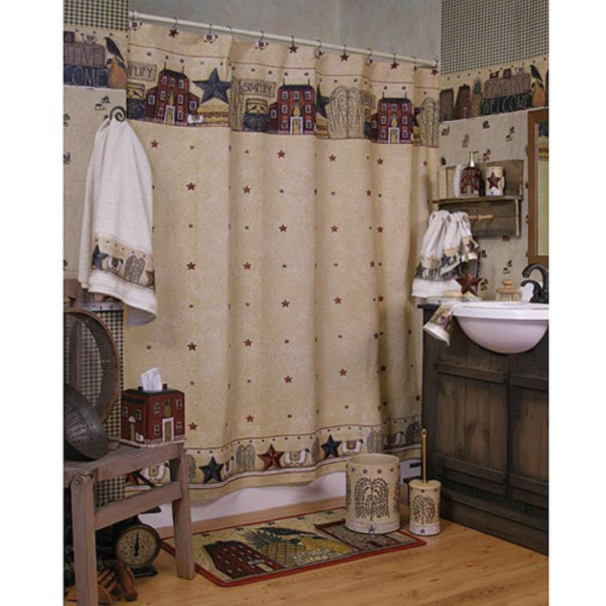 Primitive Shower Curtains With Country Rustic Style And Line White pertaining to proportions 1200 X 1200