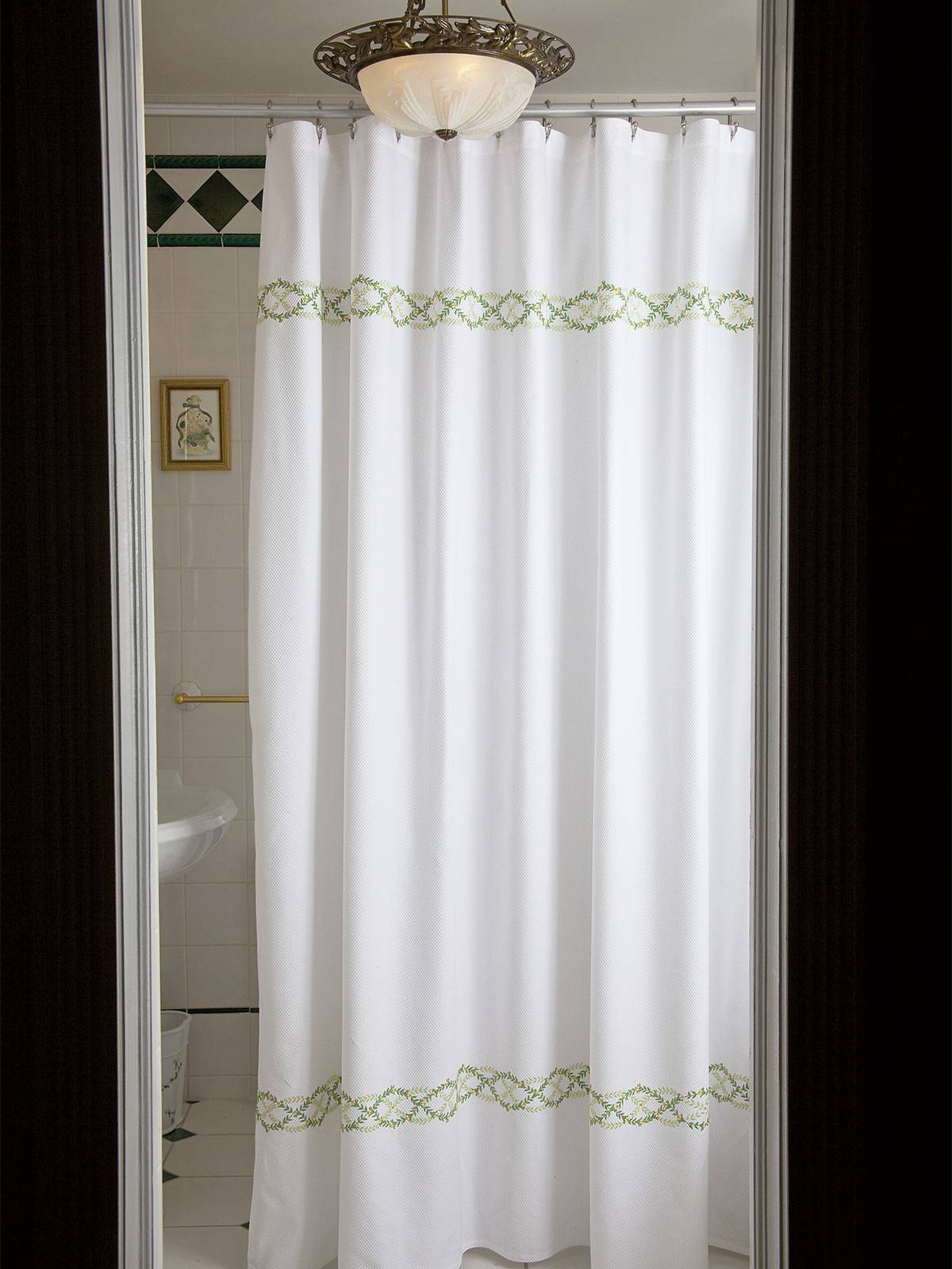White Shower Curtain With Purple And Green Leaves Combined W pertaining to measurements 1200 X 1600