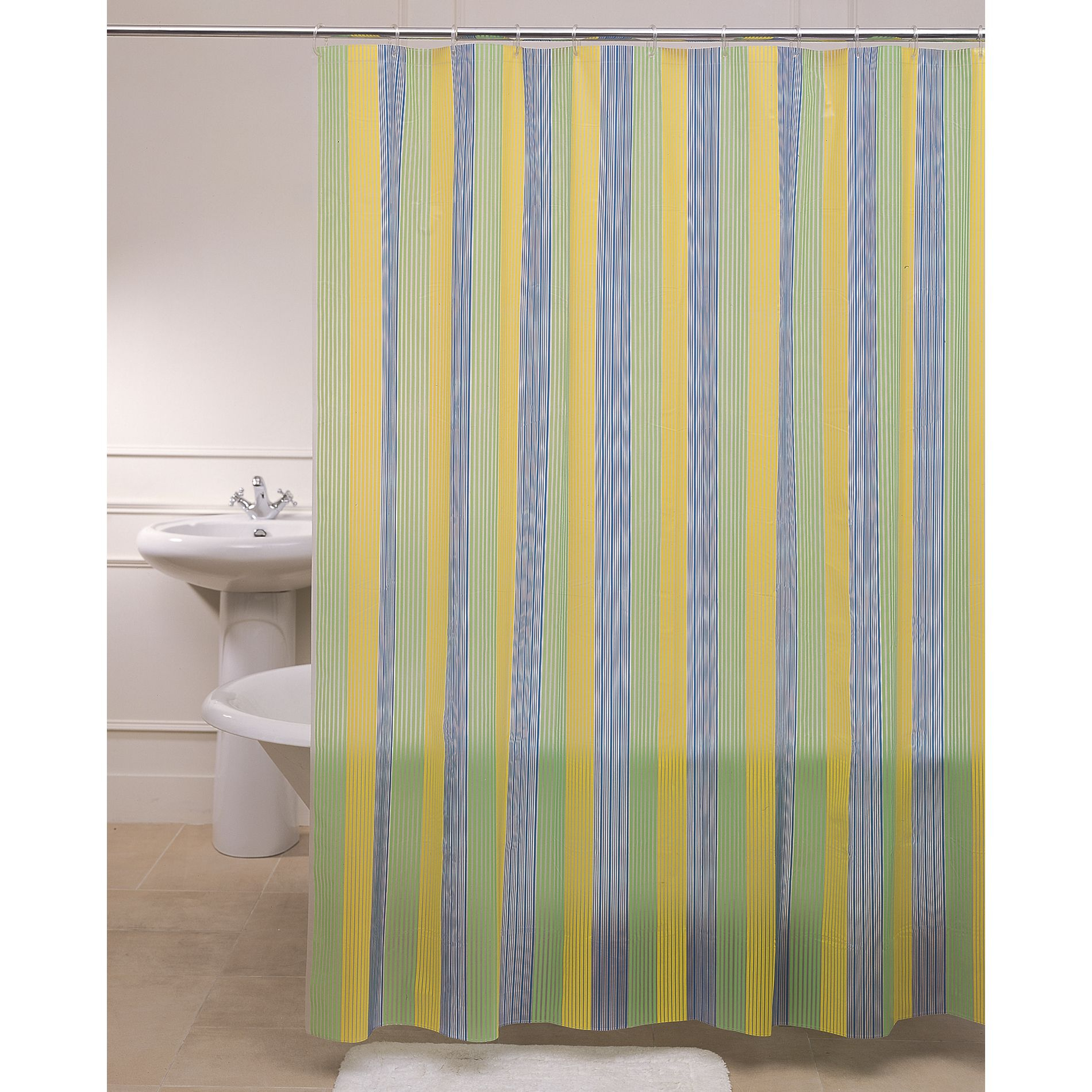 Yellow Blue Green Fabric Shower Curtain On Stainless Hook Of Chic intended for dimensions 1900 X 1900