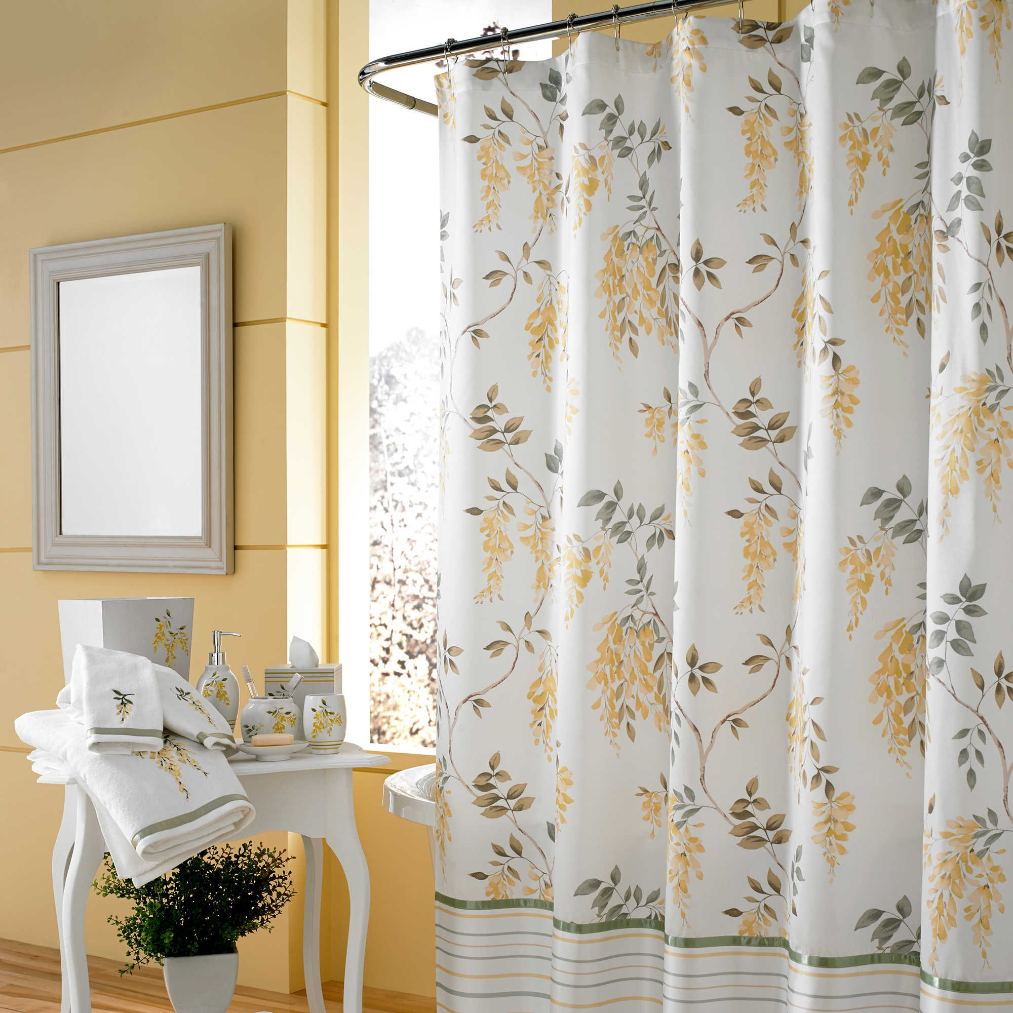 Yellow Brown White Shower Curtain Shower Curtain Design intended for proportions 2000 X 2000